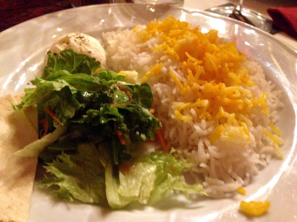 Rice and salad for the meat kebabs