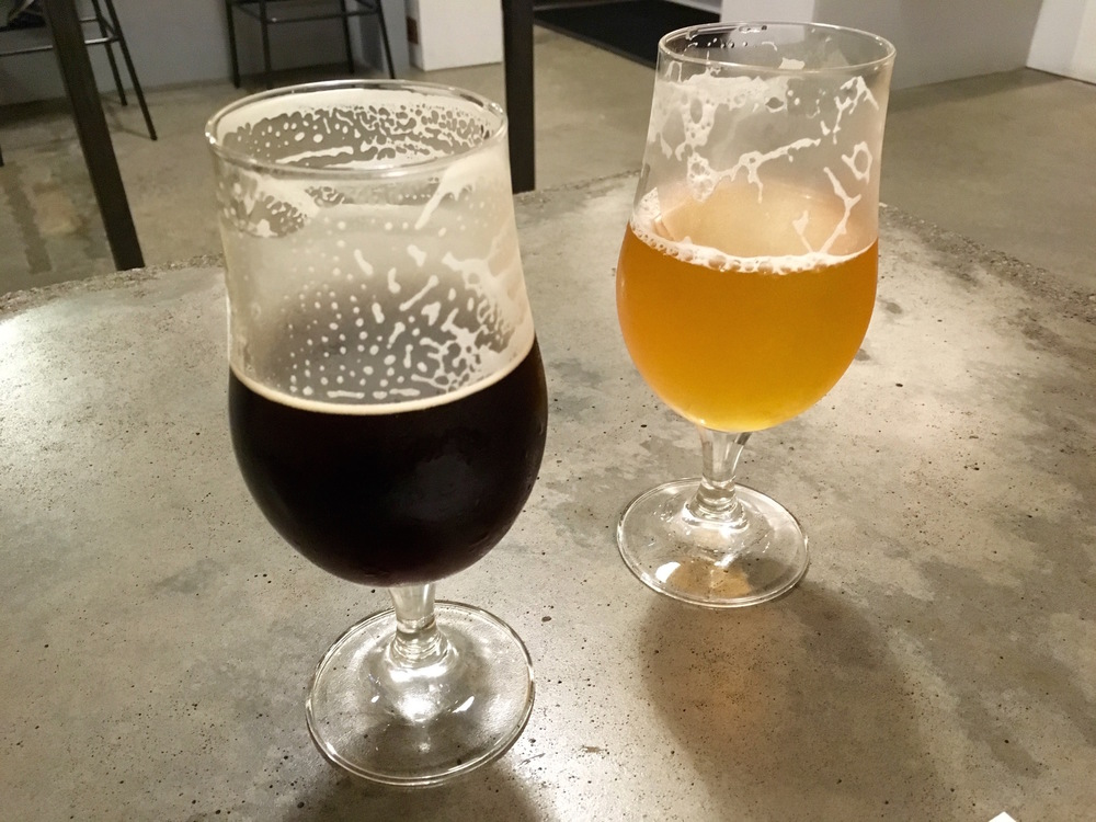The black beer and Kiln & Cone pale ale at Holy Mountain Brewery