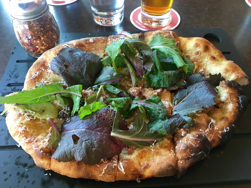 Lamb sausage pizza at Serious Pie & Biscuit