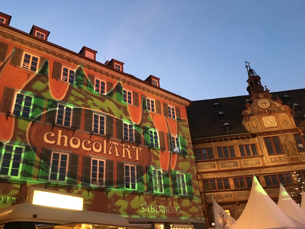 ChocolArt at night lighting up the main square