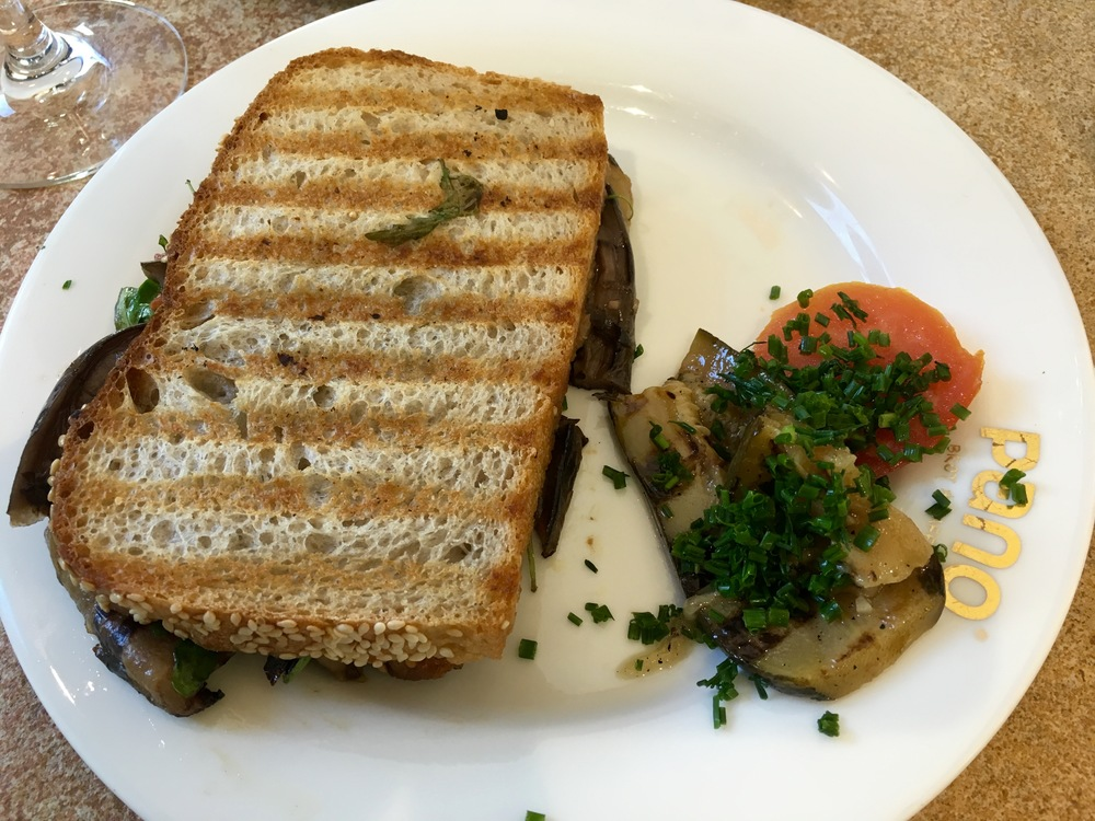 The  Pugliese  panini with eggplant, roasted tomato spread, and arugula at Pano