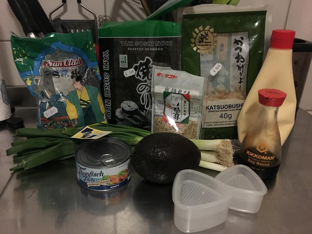 Ingredients ready for making Japanese  onigiri