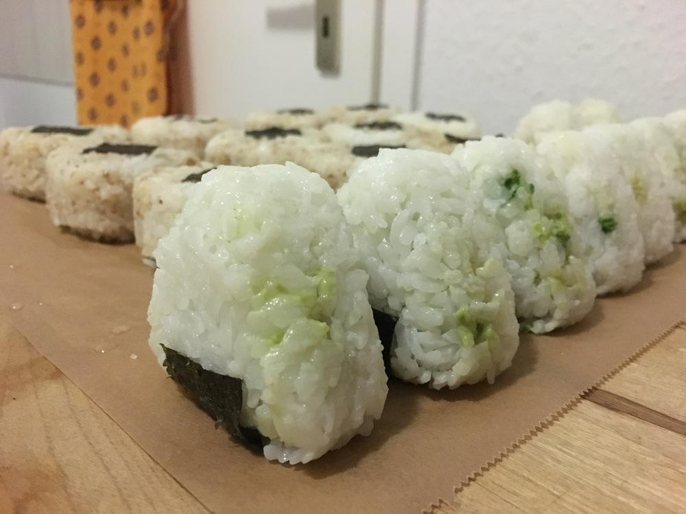 My tuna (in the back) and avocado  onigiri