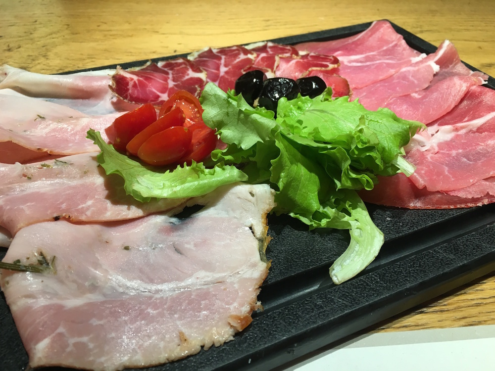 The sliced meat platter