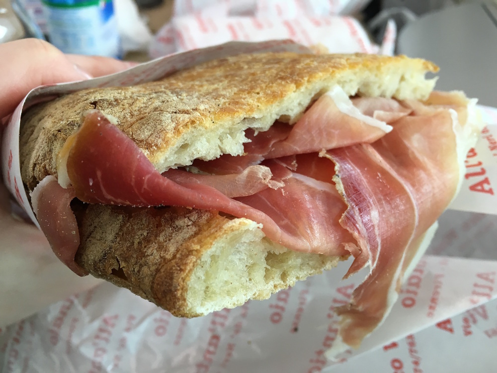 "The ""Boss"" sandwich with pecorino, truffles, and prosciutto"