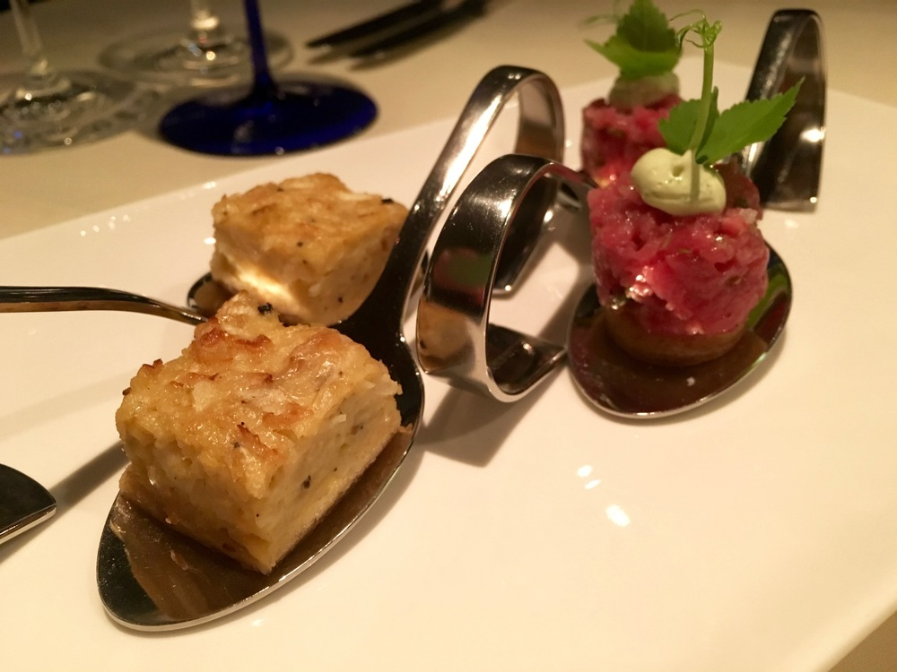 Amuse-bouche of Celeriac Quiche and Veal Tartar