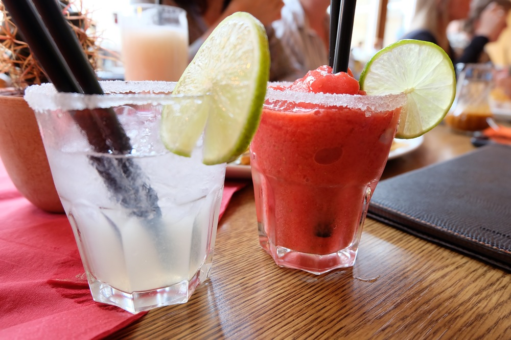 A  Margarita  and virgin frozen strawberry daiquiri