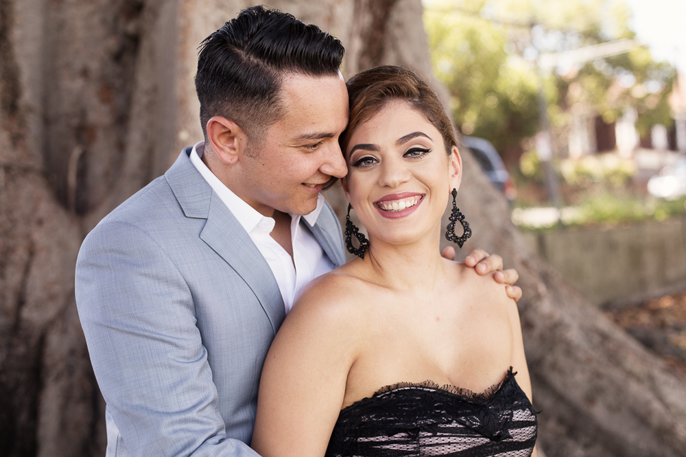 These lovebirds opted for the dressy look for their mini engagement shoot.
