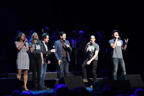 Samantha Pollino (second from left), with Marya Grandy, James Wesley, Colin Donnell, Jose Ramos, Joseph Morales at Chicago's Concert for America.