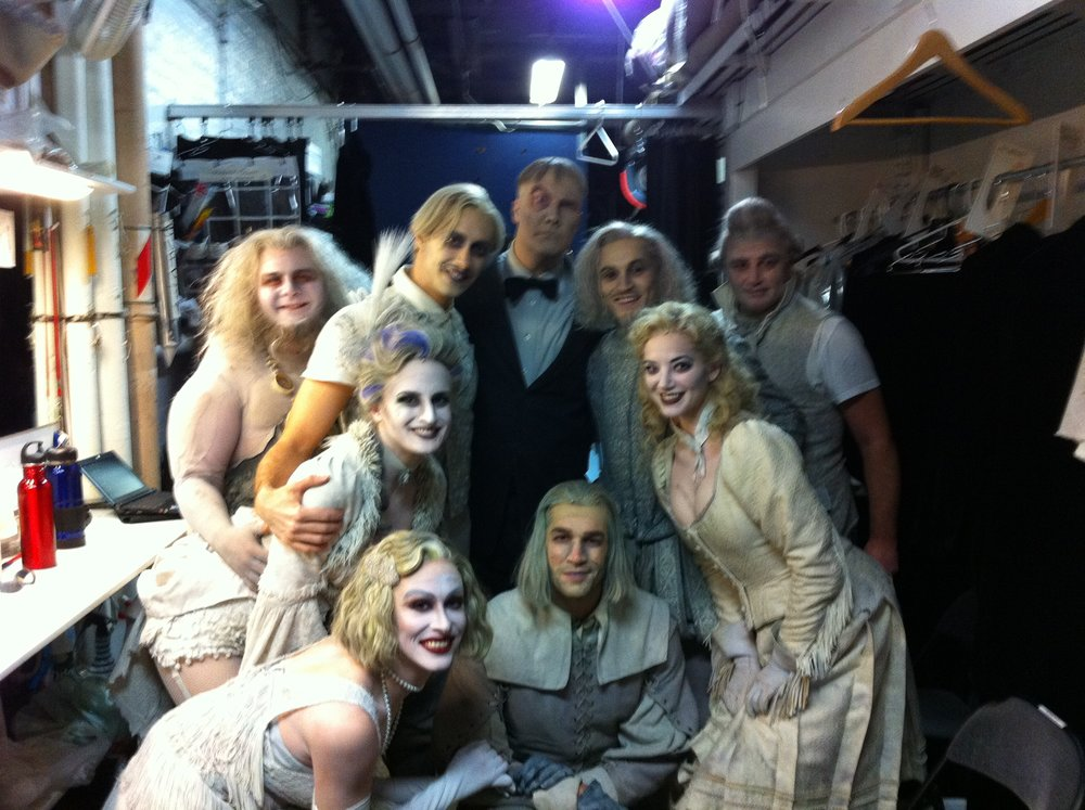 Mo Brady wth the ensemble of The Addams Family on Broadway: (clockwise from left) Erick Buckley, Reed Kelly, Fred Inkley, Mo, Jimmy Bortselmann, Samantha Sturm, Tom Berklund, Stephanie Gibson and Lisa Karlin