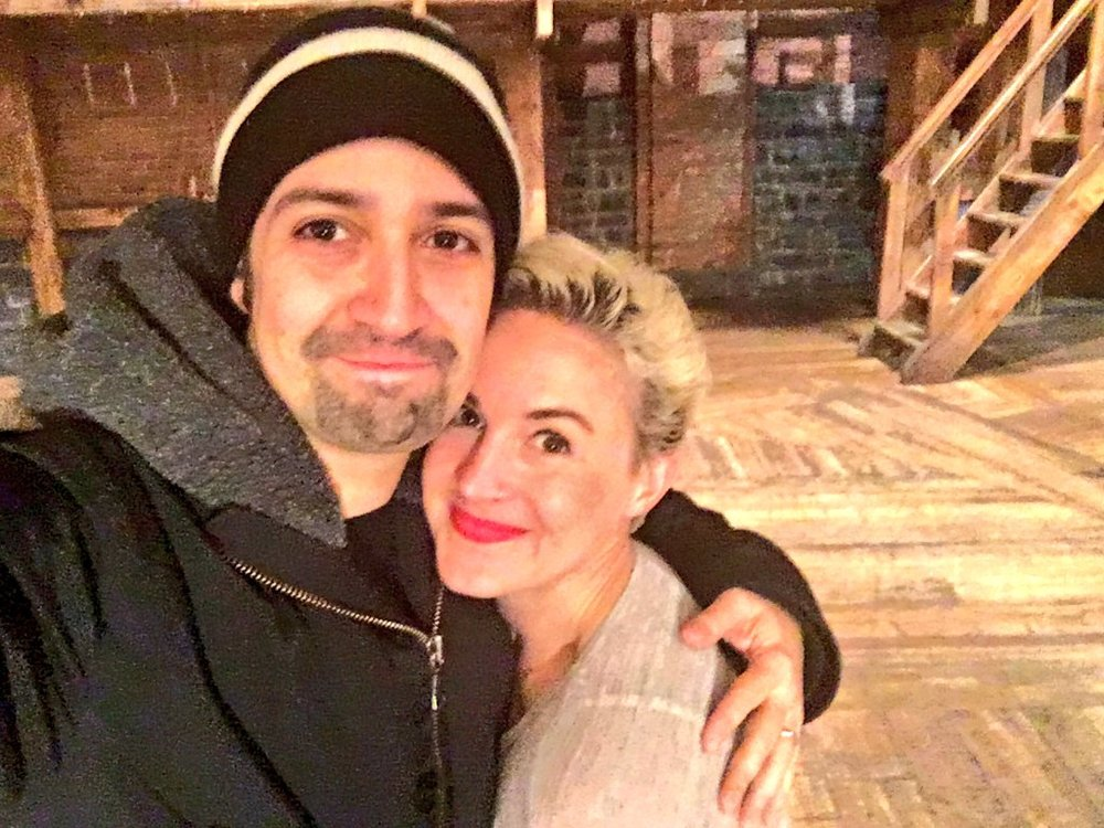 Betsy Struxness with Lin-Manuel Miranda on her last night at  Hamilton