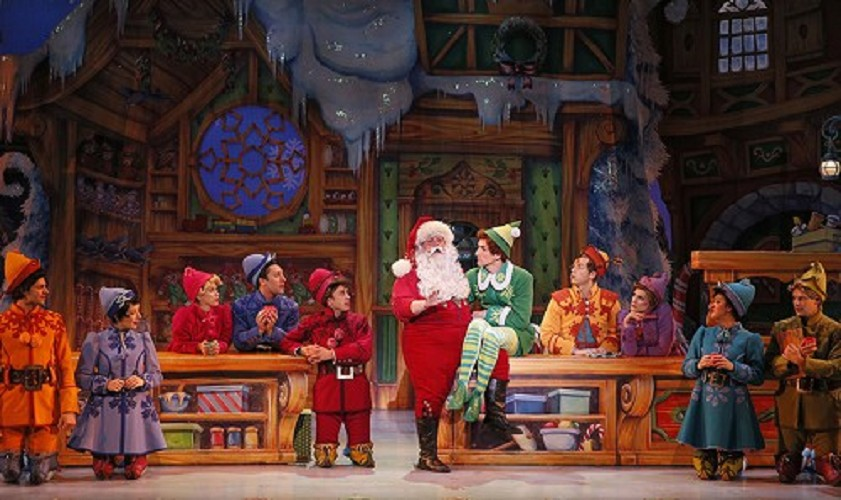 Joseph Fierberg and the cast of the national tour of  Elf the Musical