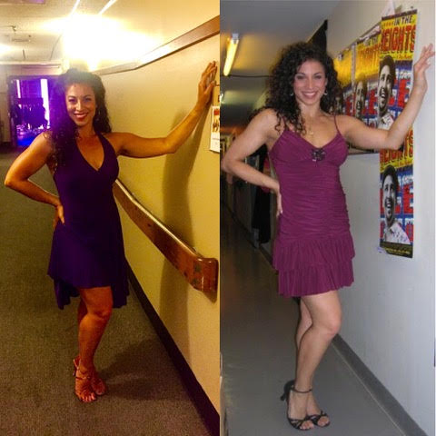 Left: Stephanie Klemons as Vanessa in Pittsburgh CLO's In the Heights, July 15, 2017. Right: Stephanie Klemons in the ensemble of Off-Broadway's In the Heights, July 15, 2007.