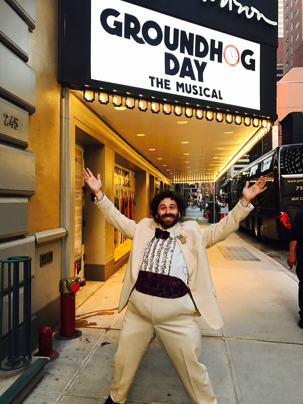 Michael Fatica as The Chubby Man in front of the August Wilson Theatre