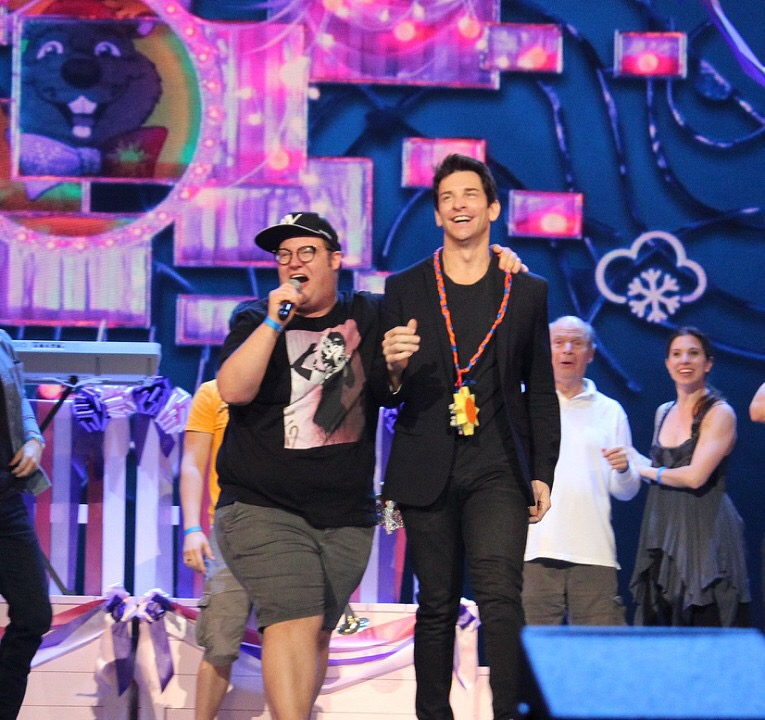 Josh Lamon (with Andy Karl) at the Tony Awards rehearsal for  Groundhog Day