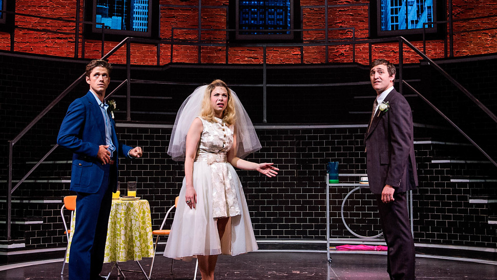 Joseph Spieldenner (right, with Aaron Tveit and Lauren Marcus) in Company at Barrington Stage Company