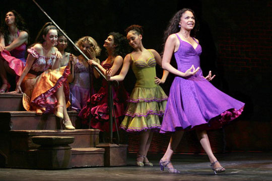 Jennifer Sanchez (in orange, sitting on step) as Rosalia in  West Side Story