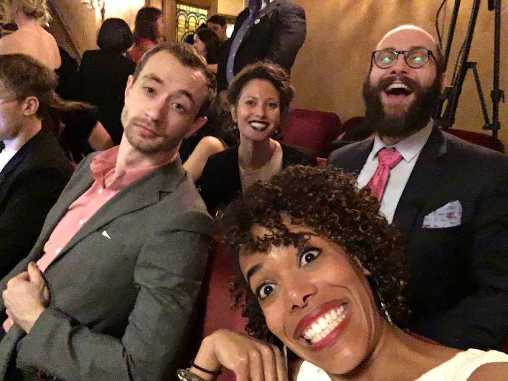 Erica Dorfler (front) with cast members from  Natasha, Pierre and the Great Comet of 1812