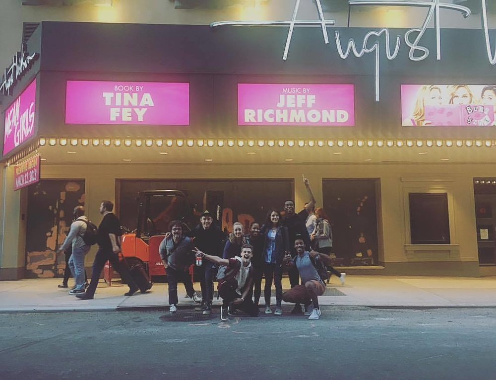 Cast members of  Mean Girls  in front of the August Wilson Theatre