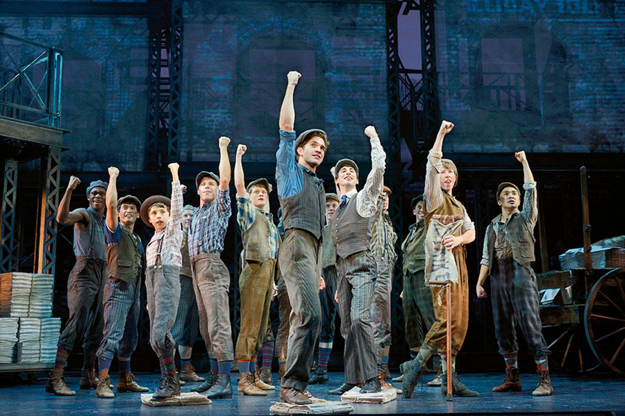 Julian De Guzman (far right) and the national tour cast of Newsies