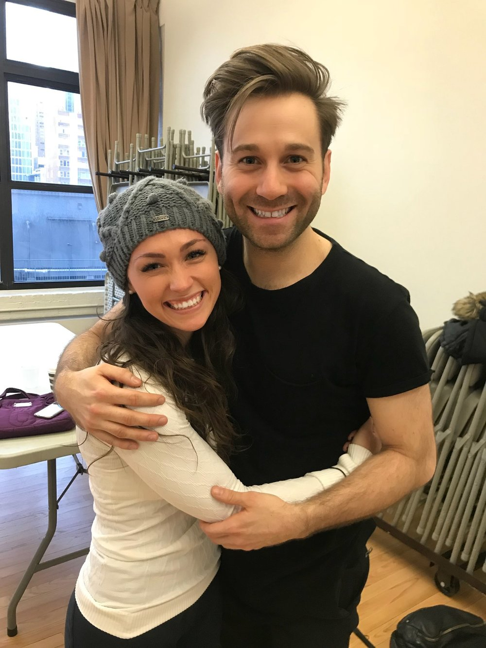 Michael Fatica in rehearsal for  A Bronx Tale  with dance captain Brittany Conigatti