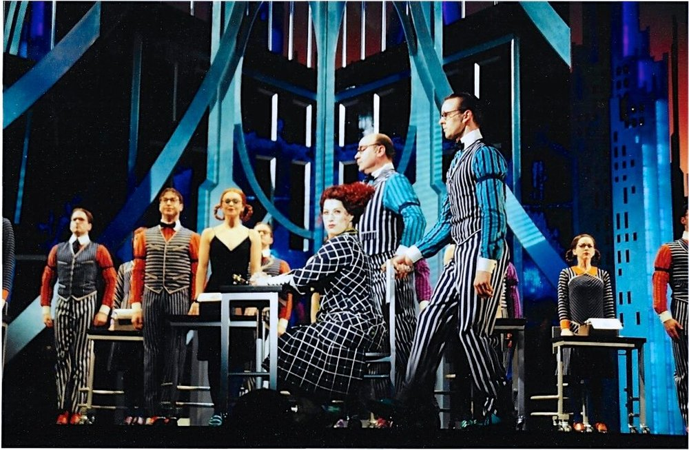 Anne L. Nathan with the cast of  Thoroughly Modern Millie