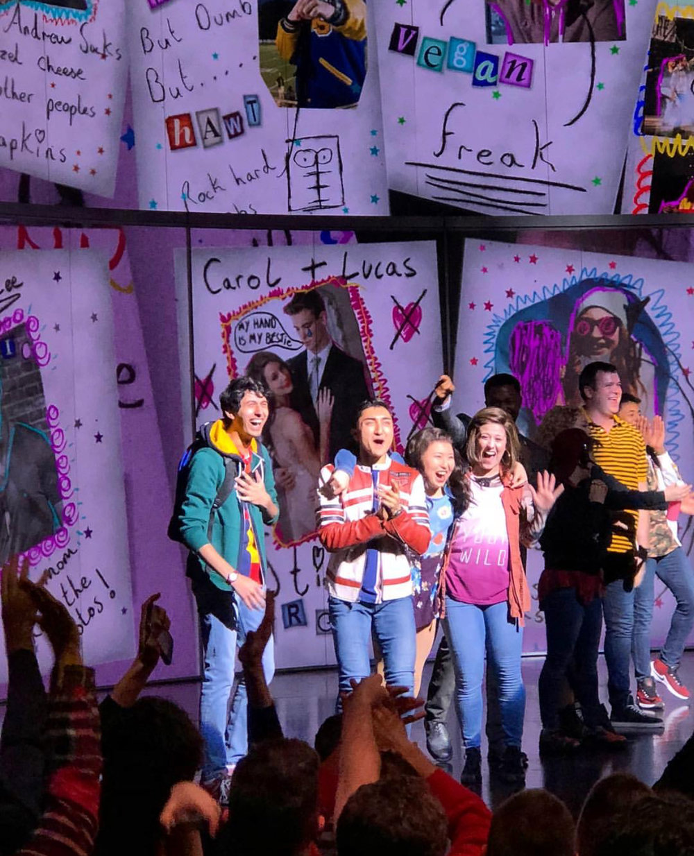 Stephanie Bissonnette (fourth from right) with other  Mean Girls  actors making their Broadway debuts