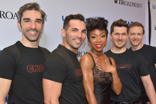 Peter Nelson (left) with cast members from Broadway's  Chicago