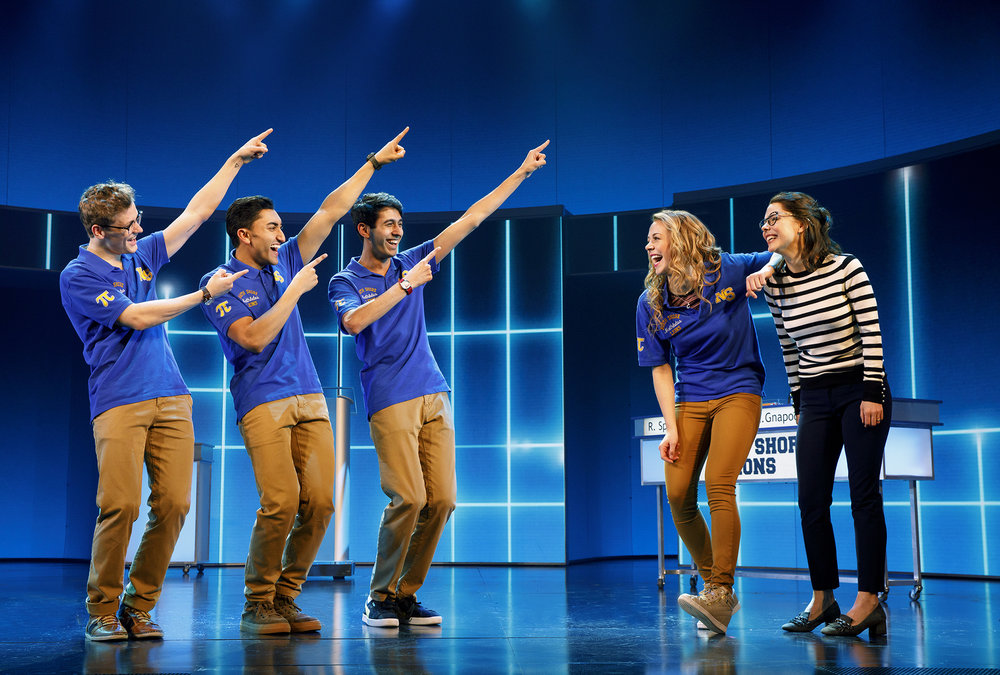 Ben Cook (Ensemble), Nikhil Saboo (Ensemble), Cheech Manohar (Kevin Gnapoor), Erika Henningsen (Cady Heron), and Kerry Butler (Ms. Norbury)  Credit: © 2018 Joan Marcus