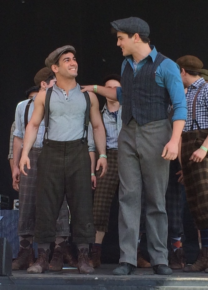 Tommy Bracco and Adam Kaplan in  Newsies