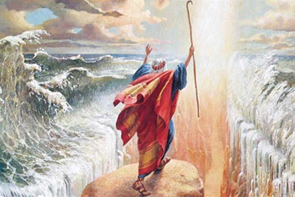 Moses in a spacing rehearsal with the Red Sea