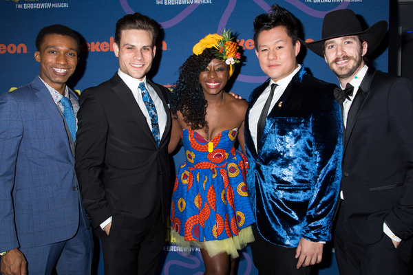 Vasthy Mompoint (center) and cast mates at the opening night of  SpongeBob SquarePants. (Dress by Semani Je Shia).