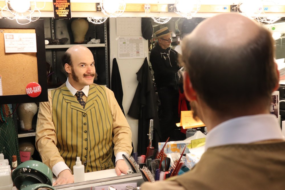 Aaron Kaburick backstage at  Hello, Dolly!