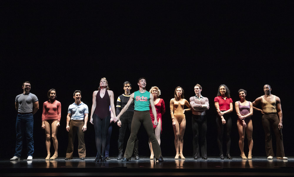 Kate Bailey (fourth from left) with the cast of  A Chorus Line  at New York City Center