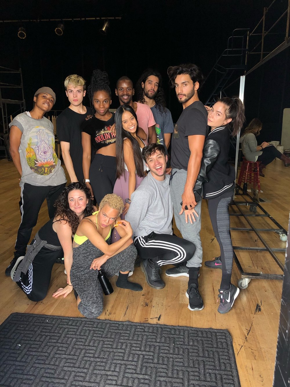 Khori Petinaud (back, third from left) and the ensemble of Rent Live on FOX