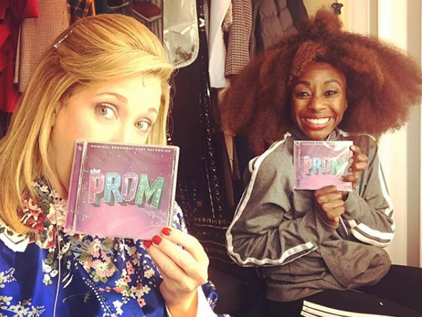 Courtney Balan (with Vasthy Mompoint) backstage at  The Prom