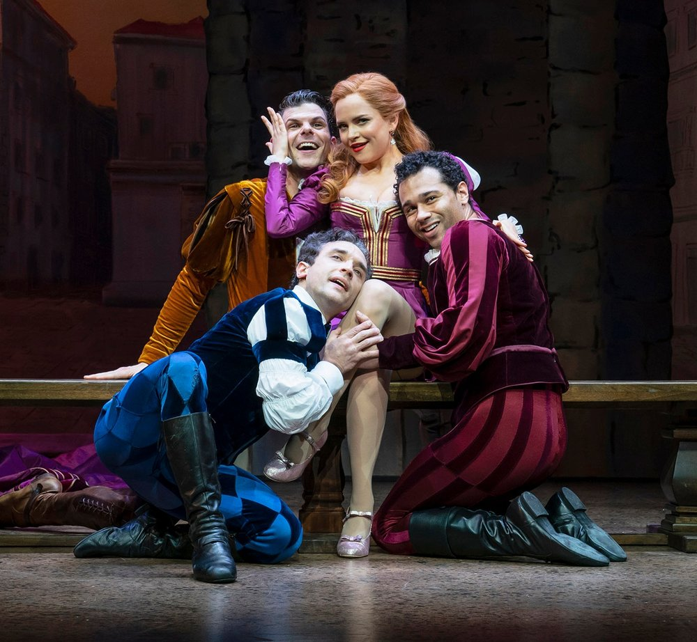 Will Burton, Rick Faugno, Stephanie Styles and Corbin Bleu in  Kiss Me, Kate  (Photo by Joan Marcus)