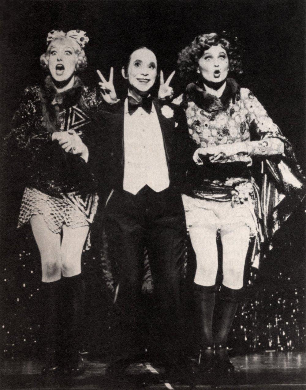 Paula Leggett Chase in  Cabaret  (left, with Joel Grey and Jennifer Allen)