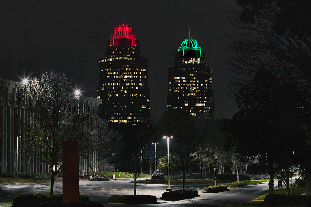 Concourse - King and Queen Buildings with New Holiday Lights,  2014 Atlanta, Georgia