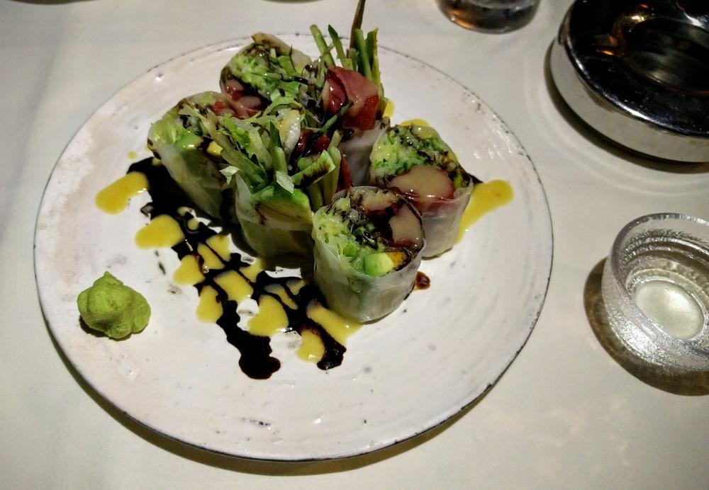 Maguro avocado namaharumaki salad
