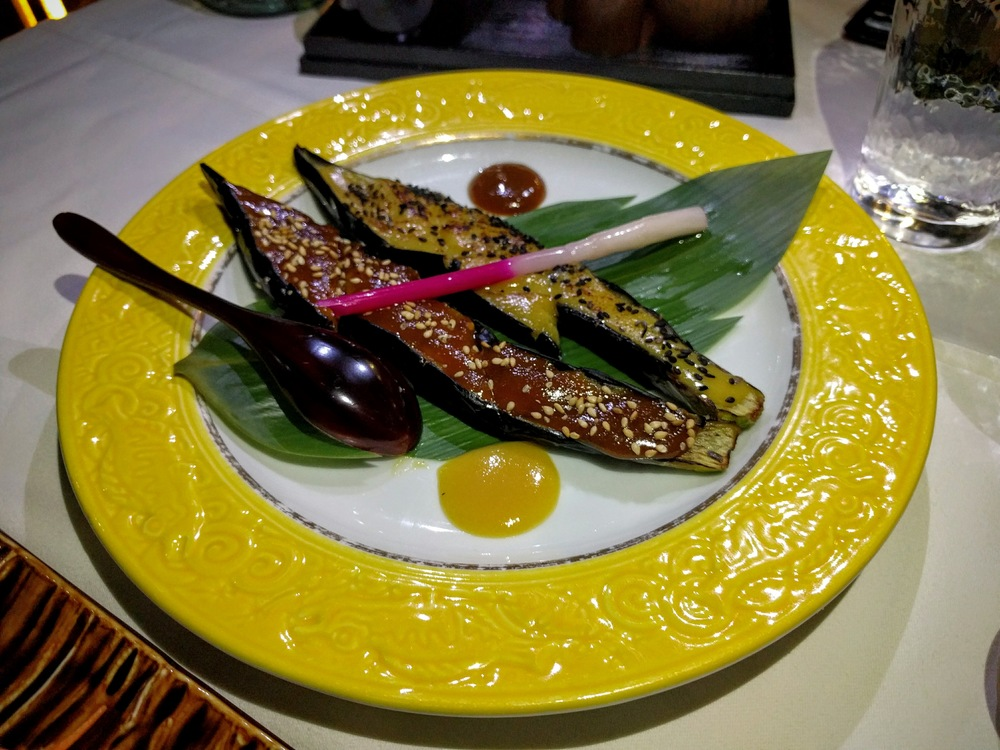 Grilled eggplant with glazed miso