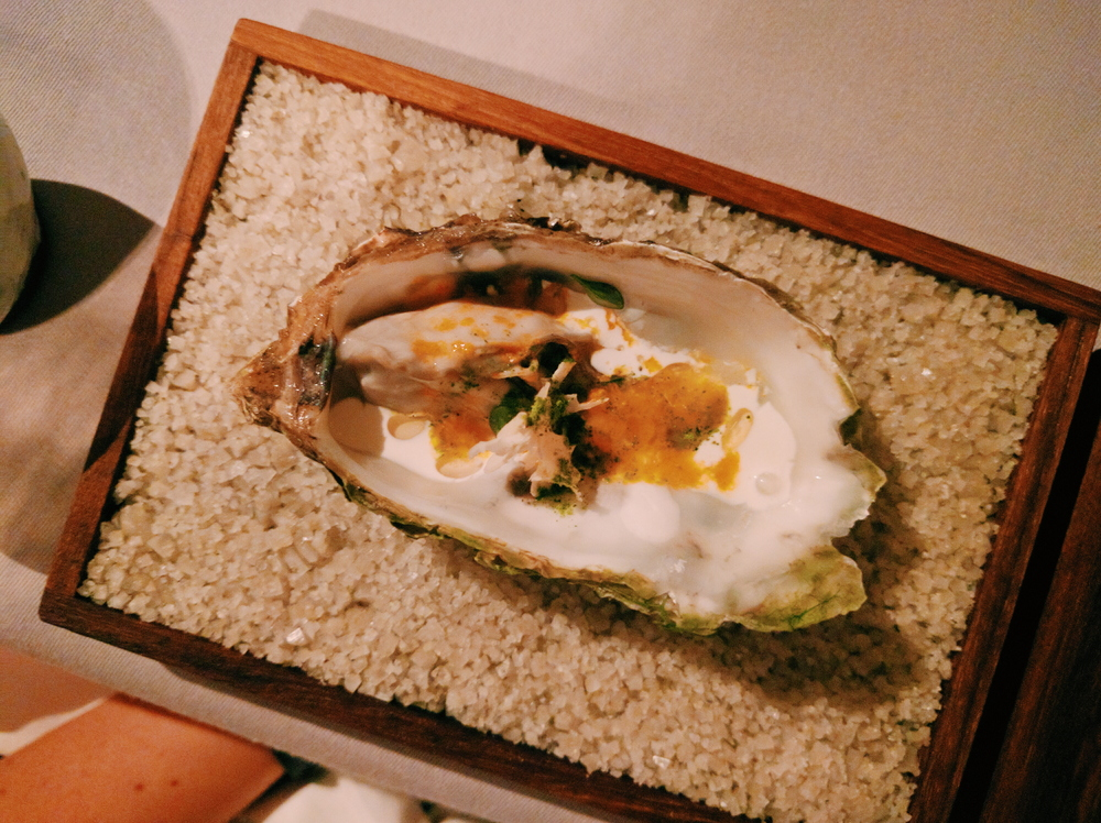 Oyster with granita of sea buckthorn, juniper cream and sprouted walnut