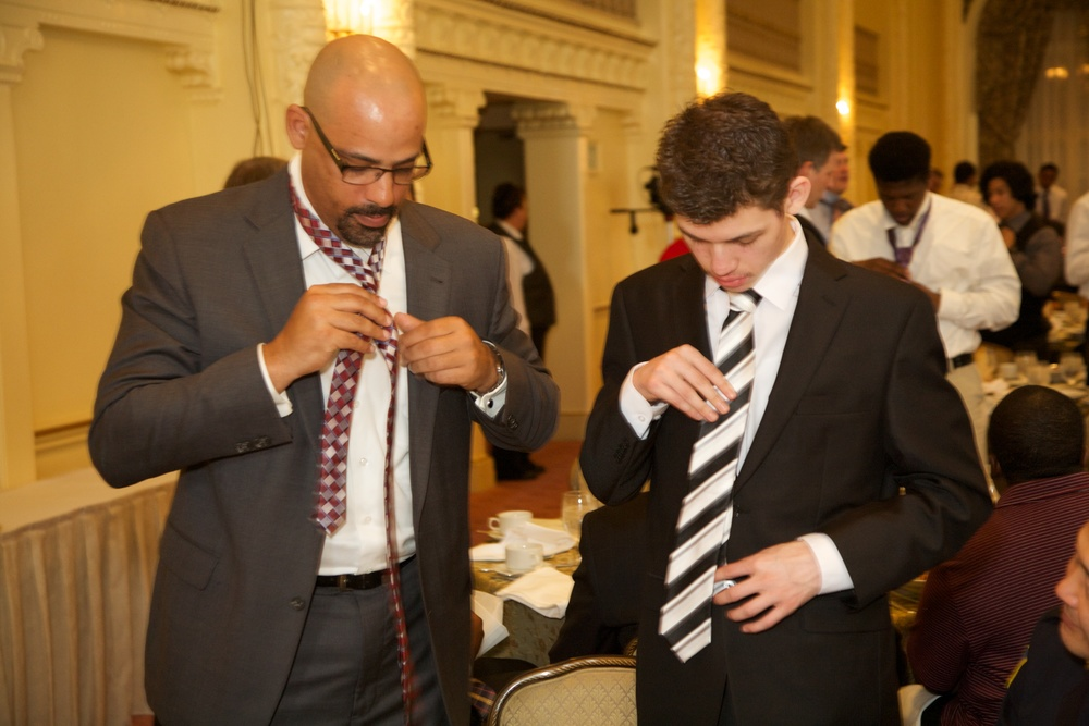 Breakfast Group Board Member Benjamin Hall with Project M.I.S.T.E.R.™ student (Tie-One-On 2014)