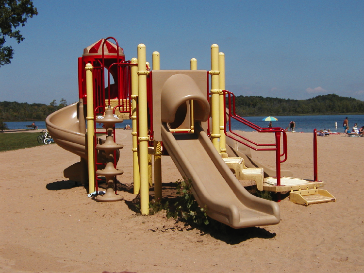 The playground on Wabasis Lake's beach