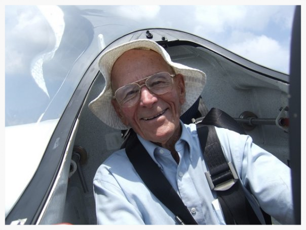 Adventure in the Blood:     My grandfather, Tom Hardy, was 89 when this picture was taken in his glider. At 94, a few weeks before his death, he flew his plane to Mississippi State University to donate it to the Aviation Club.