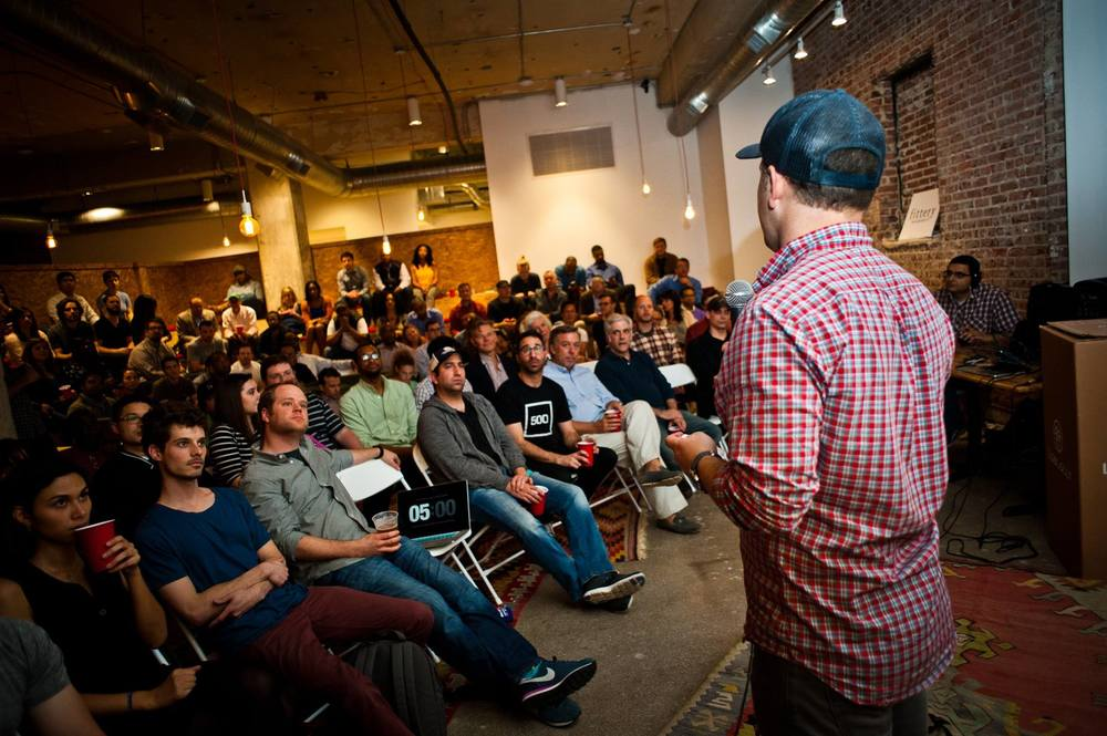 A packed house  as  Michael Tavani  opens the first Consumer Show at Switchyards.  PHOTO |  Jason Seagle