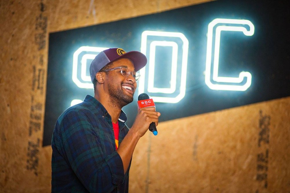 Switchyards member   Ugo Ezeamuzie  guest-hosting for Tavani. | PHOTO:  Jason Seagle