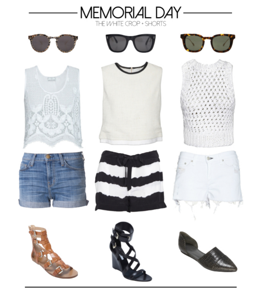 From left to right... Look 1:  Illesteva  safari sunglasses,  Miguelina  lace top,  Current/Elliott  bicycle shorts ,  Belle by Sigerson Morrison  sandals  Look 2:  Super  sunglasses,  ALC  leather trim linen top, Intermix exclusive  Equipment  shorts,  Brian Atwood  wedges  Look 3:  Oliver Peoples  sunglasses,  ALC  knit crop top, Intermix exclusive  rag & bone/Jean  destroyed cutoffs,  Jenni Kayne  flats