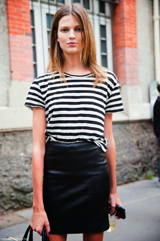 leather mini + stripes