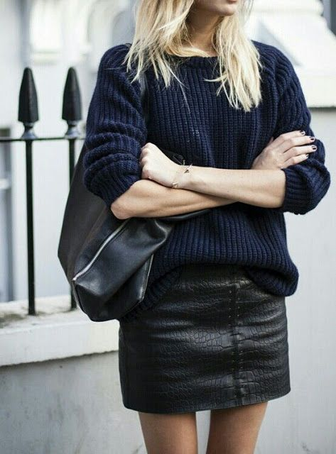 leather and sweater